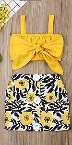 Yellow Tube Top Floral Skirt Set