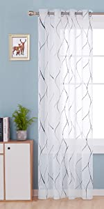 wave foil print sheer curtains