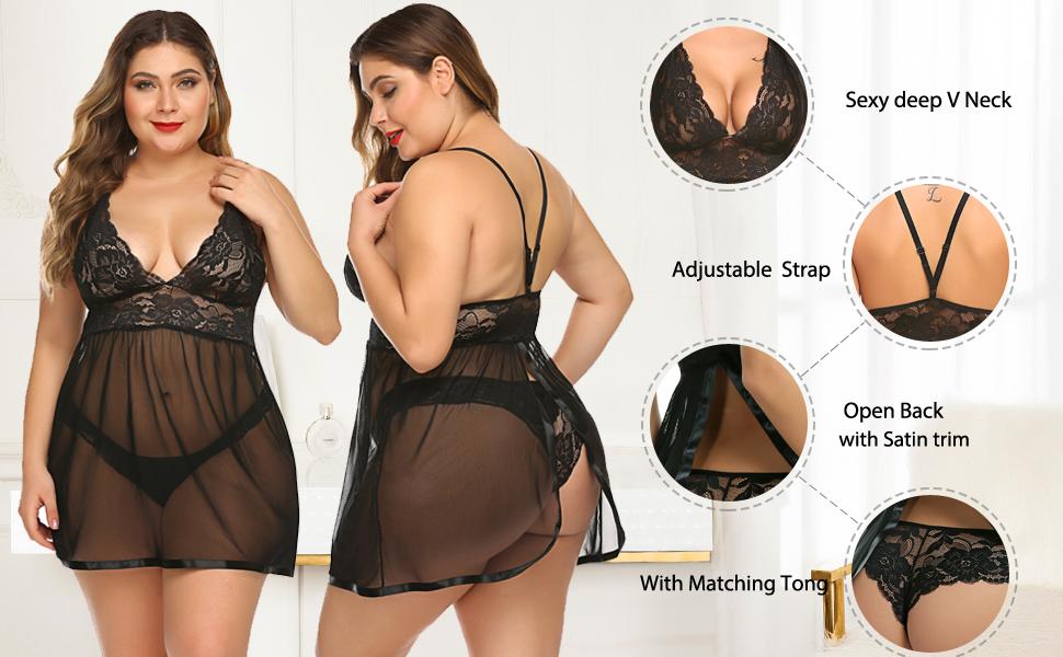 Avidlove Lingerie V Neck Babydoll teddy lace bodysuit lingerie teddy lace lingerie for women
