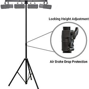 Harmony Audio Pro Audio DJ Lighting Tripod amp; T-Bar Light Stand w/ Air Brake
