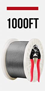 Lichamp 1000FT 1//8 Stainless Steel Wire Rope Cable SSC1000 Aircraft 316 SS Braided Steel Wire Thin Metal Cable Hardware for Deck Railing Handrail Safety System