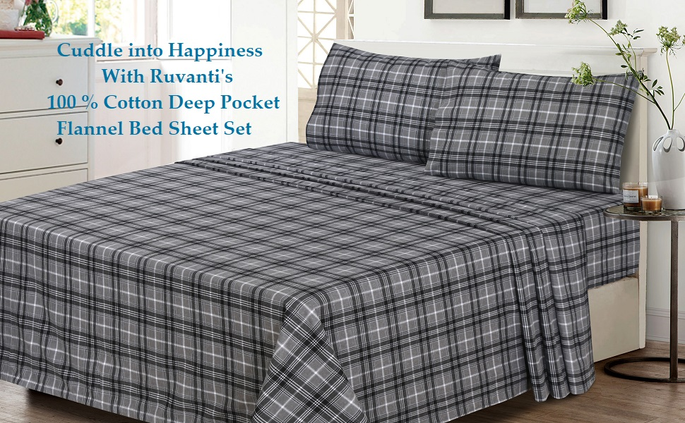 Amazon Com Ruvanti 100 Cotton 4 Piece Flannel Sheets Queen Deep Pocket Warm Super Soft Breathable Flannel Bed Sheets Set Queen Include Flat Sheet Fitted Sheet 2 Pillowcases