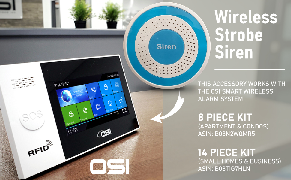 OSI Wireless Strobe Siren accessory for use with OSI SMART WIRELESS ALARM SYSTEM