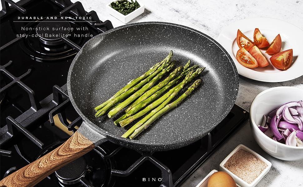 BINO Cookware Nonstick Frying Pan Nonstick Cast Aluminum Crepe Pan Egg Pan Omelet Pan