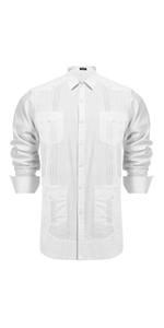 Men's Long Sleeve Cuban Guayabera Casual Button Down Cotton Linen Shirt