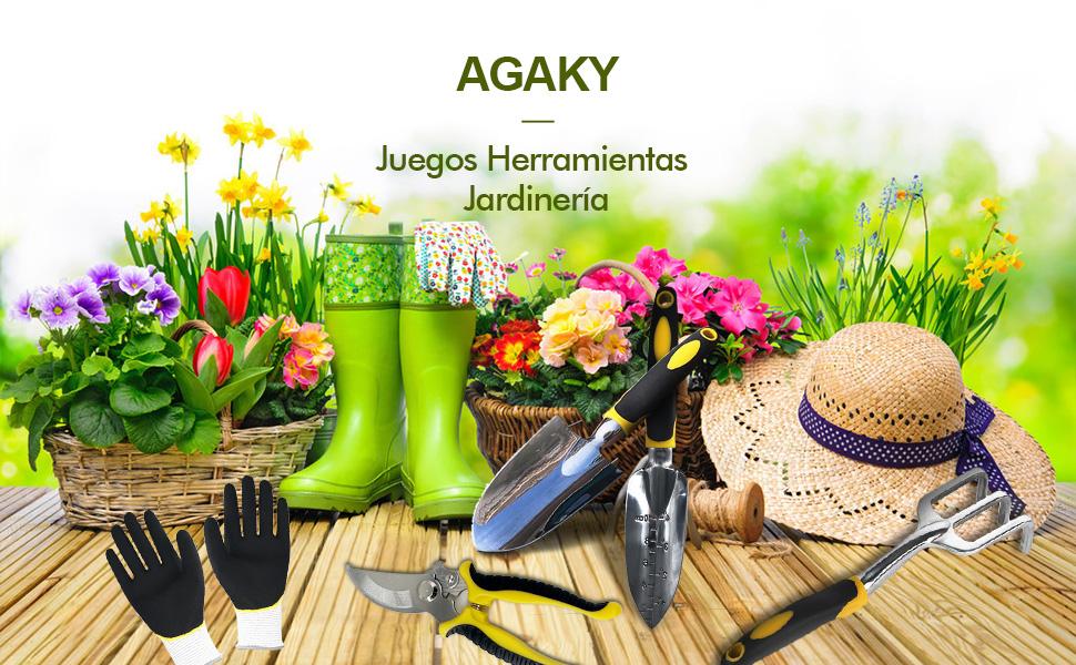 AGAKY Juego Herramientas Jardín- Juego Jardinería Cabezales ...
