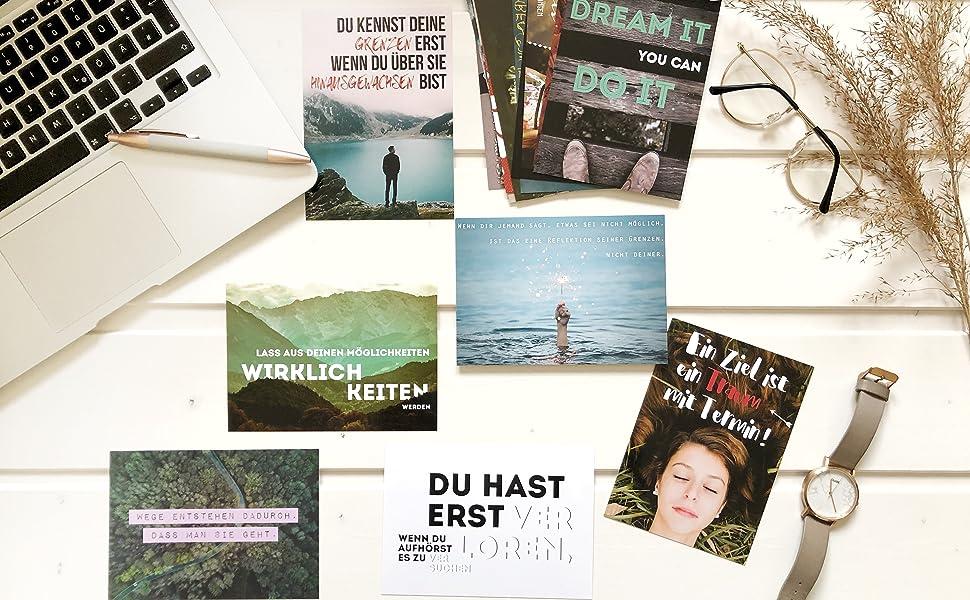 20er Postkarten Set Motivation Mit 20 Motivierenden Spruchen Spruch Postkarte