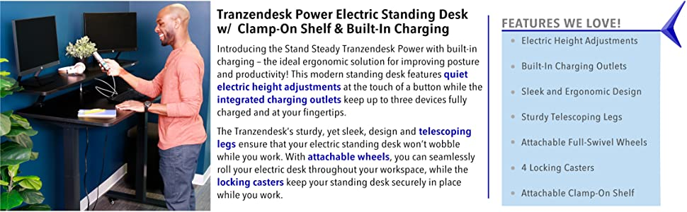 Tranzendesk power charge usb outlet ac ergonomic standing sitting desk push button wheel office home