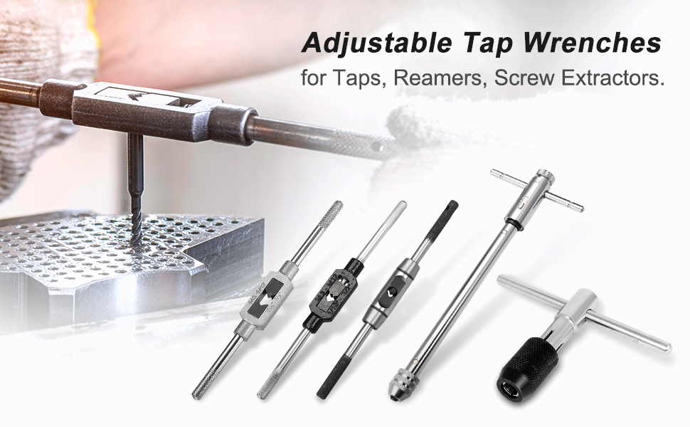 """M4-M12 Tap Wrench Handle Adjustable Tool Holder Non Slip Handles 0-1//2/"""" -306"""
