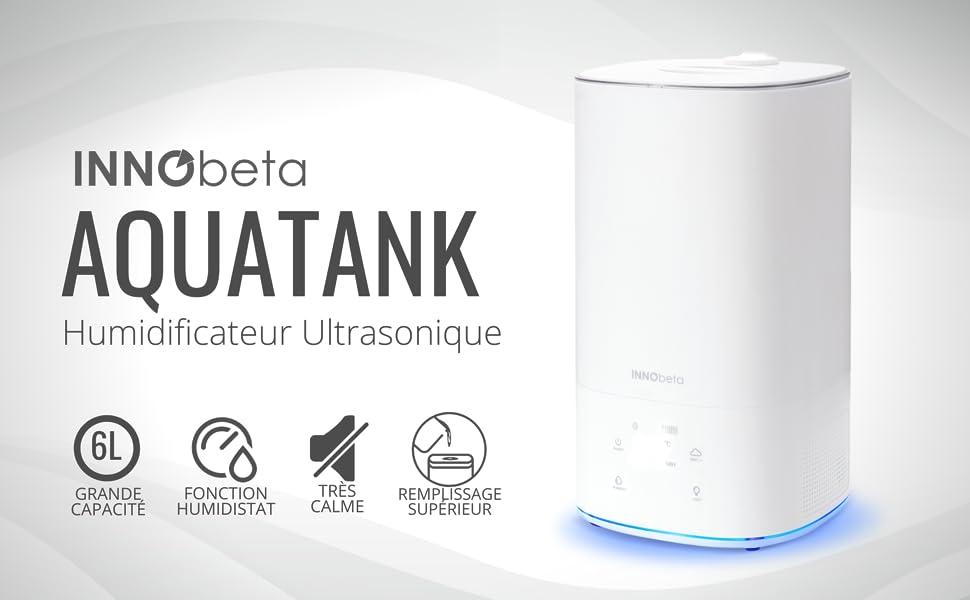 INNObeta 6,0L Humidificateur Ultrasons avec Filtre Arr/êt Automatique AquaTank pour Chambre /à b/éb/é//Coucher//Salon//Bureau Remplissage par Le Haut Facile /à Nettoyer Fonction Humidistat/&ambiante LED