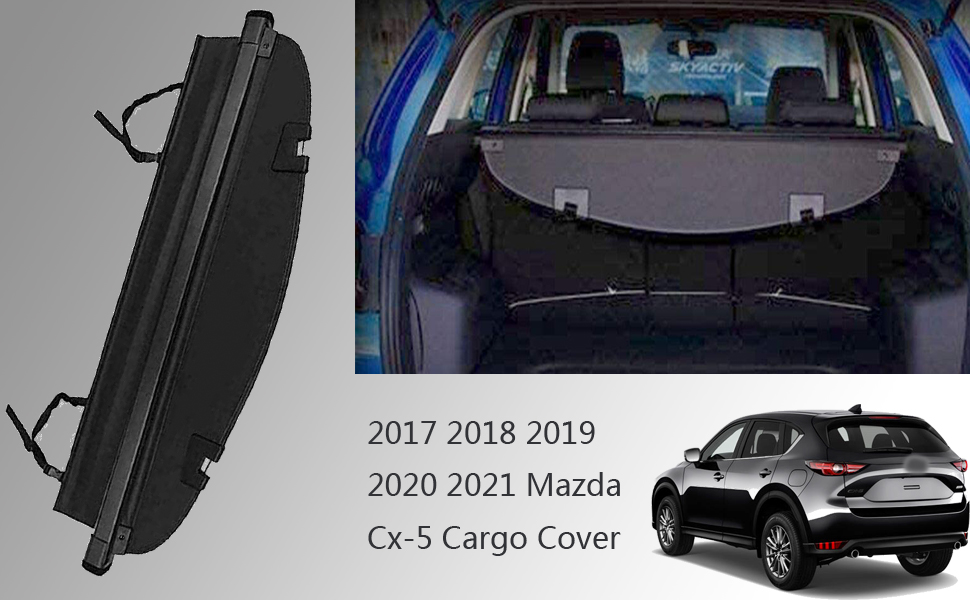 Trunk Cargo Cover For Mazda Cx-5 2017 2018 2019 2020 Black Retractable Rear Cargo Security Shield Shade Waterproof All Weather【Updated Version:There is No Gap Between The Back Seat】