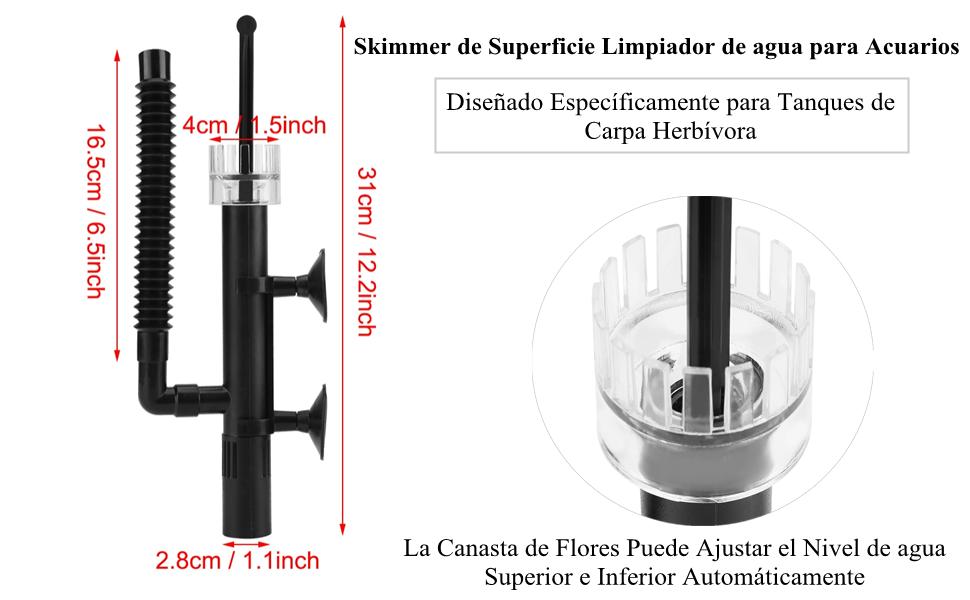 Proteína de Aceite de Superficie Agua de Acuario Skimmer Pescado Espumadera de Proteína de Agua Salada Fresca para Acuario Coral