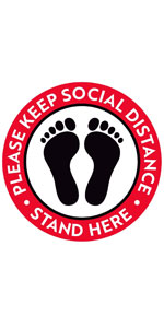 """Please Keep Social Distance Floor Stickers - 8"""" Round - Red/White"""