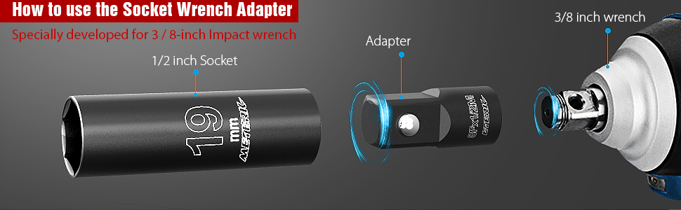 3/8'' to 1/2'' Socket Wrench Adapter