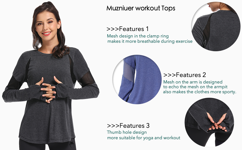 Muzniuer long sleeve yoga tops