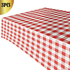 Plastic Rectangular Tablecloth Buffalo Checkered Plaid Pattern for Picnic Barbecue