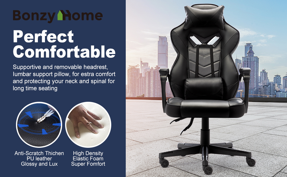 chair  Bonzy Home Gaming Chair Office Chair High Back Computer Chair PU Leather Desk Chair PC Racing Executive Ergonomic Adjustable Swivel Task Chair with Headrest and Lumbar Support (Black) a30c27a9 15b0 4f34 bc27 acf88feb5280