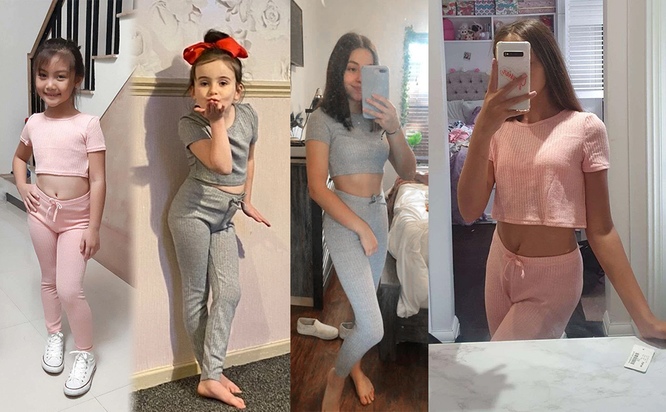Romwe Girl's 2 Piece Outfit Ribbed Knit Workout Short Sleeve Crop T Shirt and Leggings Set