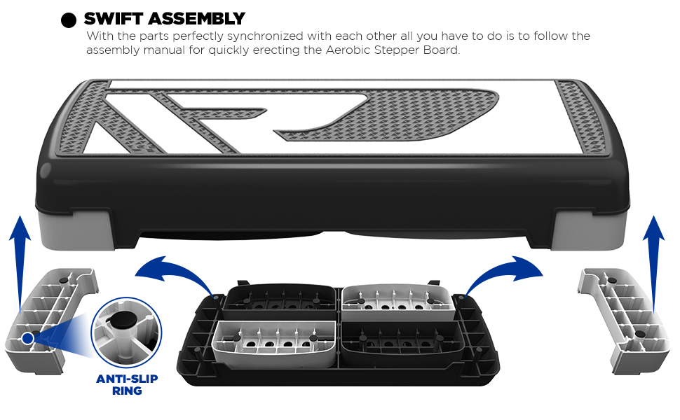 RDX Aerobic Step with 3 Adjustable Height Level Exercise,