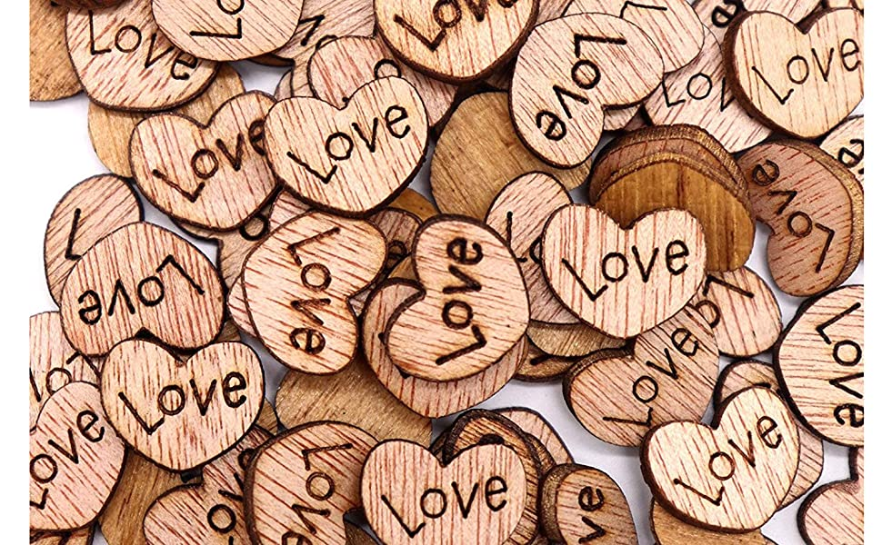 White Love Hearts Wooden Hearts Wedding Decorations Wedding Hearts 20mm Hearts, White Wooden White Hearts