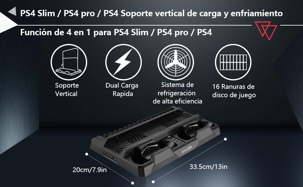 Zacro Soporte Vertical PS4 Pro/PS4 Slim/PS4 Ventilador ...