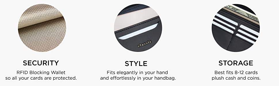 RFID, VEGAN PURSE: The Classic Clutch is 8.2 x 4.2 in. to fit elegantly in your hand