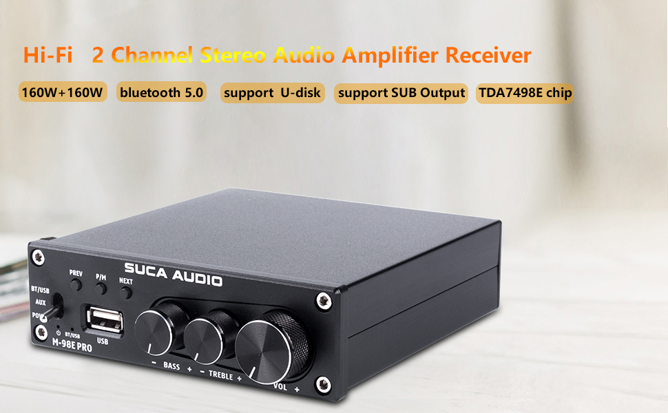Stereo audio amplifier receiver