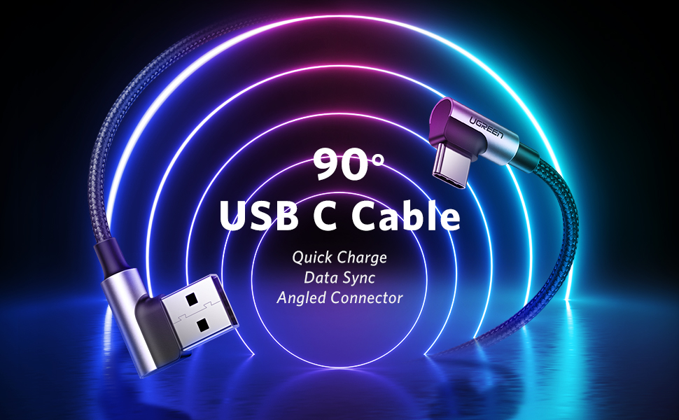USB C 90 Degree Cable 3A Right Angle Type C Quick Charge Lead Fast Charge