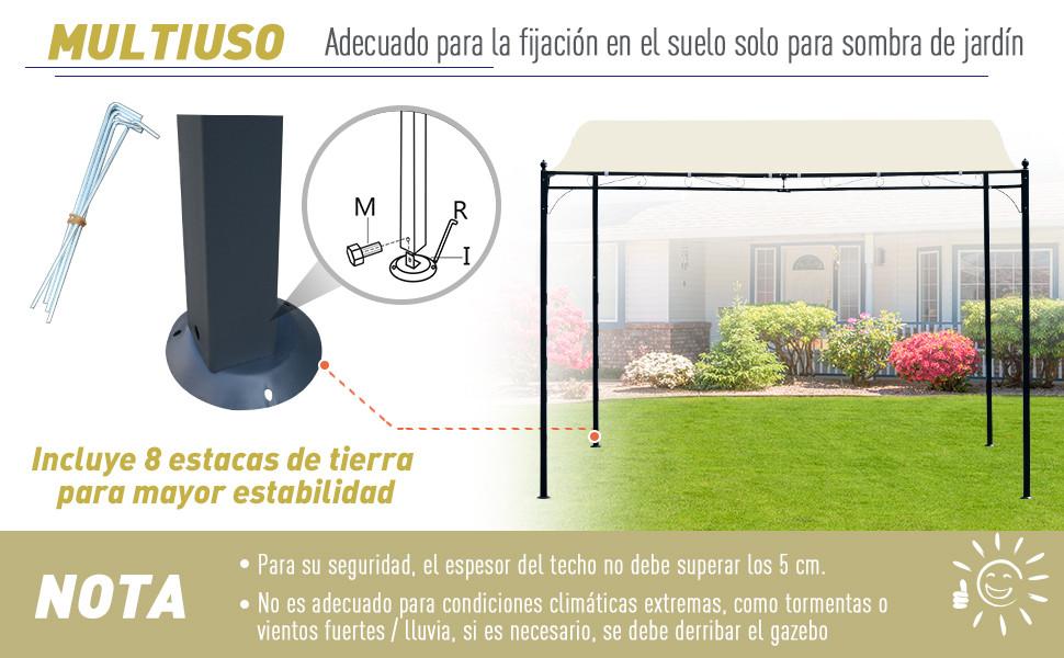 Outsunny Pérgola Gazebo Tipo Toldo de Pared Curvo para Jardín Patio o Terraza Pabellón Cenador – Color Crema - Acero y Poliéster – 3 x 3 x 2.5cm