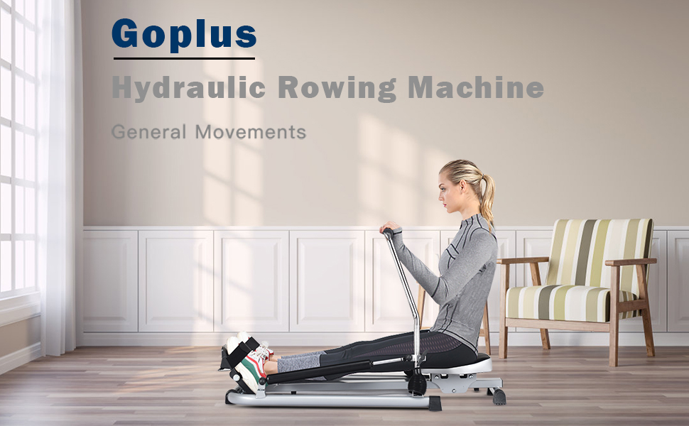 Goplus Hydraulic Rowing Machine Rower with LCD Monitor 250 lb Weight Capacity Exercise Cardio Fitness Equipment for Home Use Adjustable Resistance and Full Arm Extensions