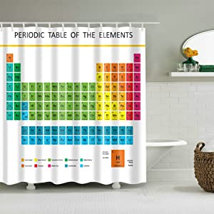 Fangkun Bathroom Shower Curtain Decor Set 72 x 72 inches 12PCS Shower Hooks Waterproof Polyester Fabric Periodic Table of Chemical Elements Design Bath Curtains