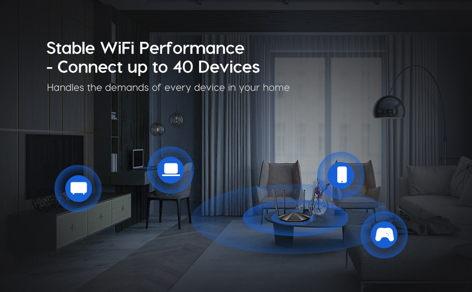Stable WiFi Performance --Connect up to 40 Devices