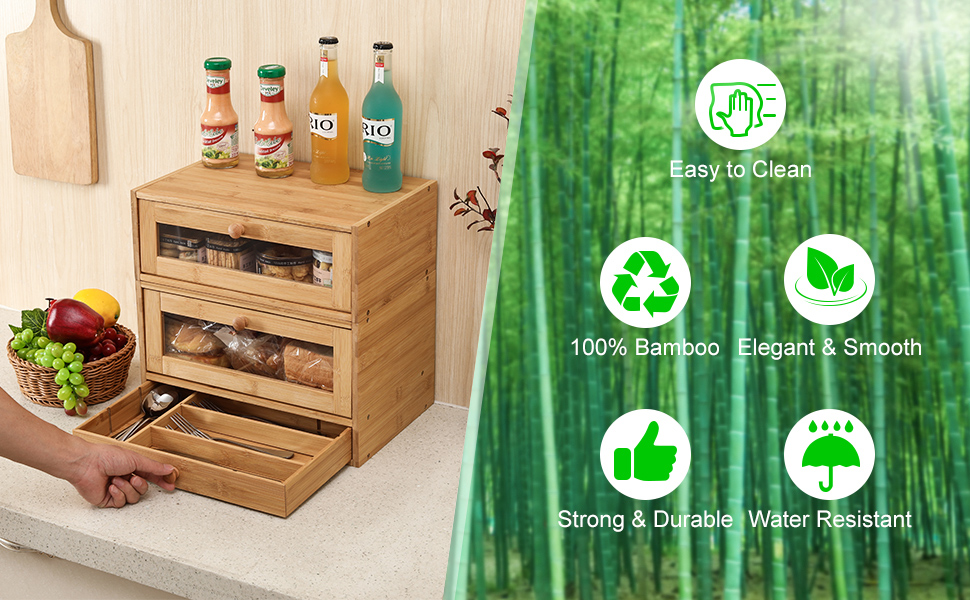 bamboo bread storage box