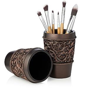 vanity tumbler, bronze, brown, make brush holder, pencil holder, pen,