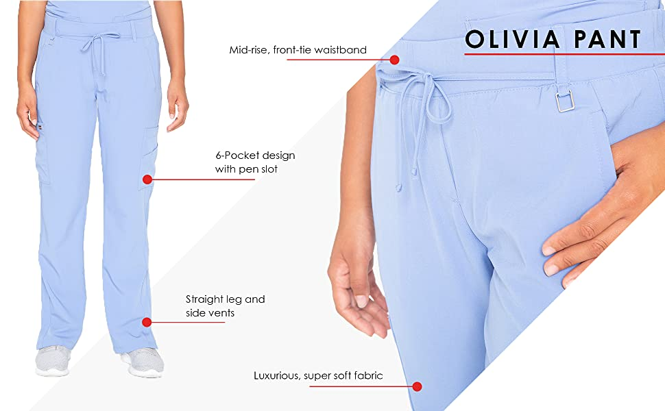 close up of barco 2218 olivia pant with infographic pointing out features like pockets and waistband