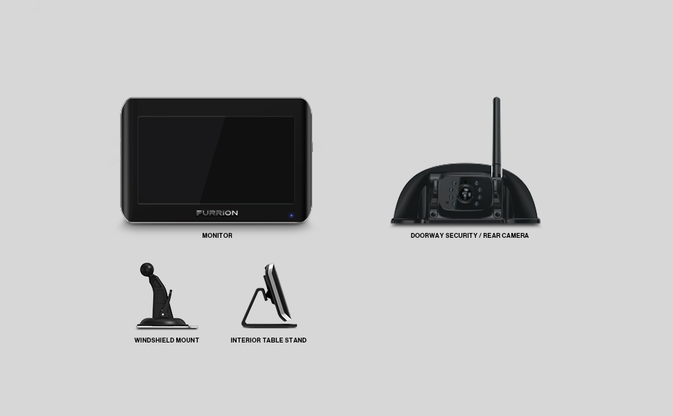 furrion, furrion vision S, monitor, windshield mount, interior table stand, side camera, lights