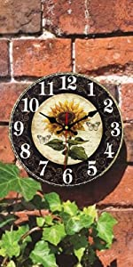 Vintage Sunflower Kitchen Wall Clocks Farmhouse Decor Rustic Distressed Country Style Indoor Home