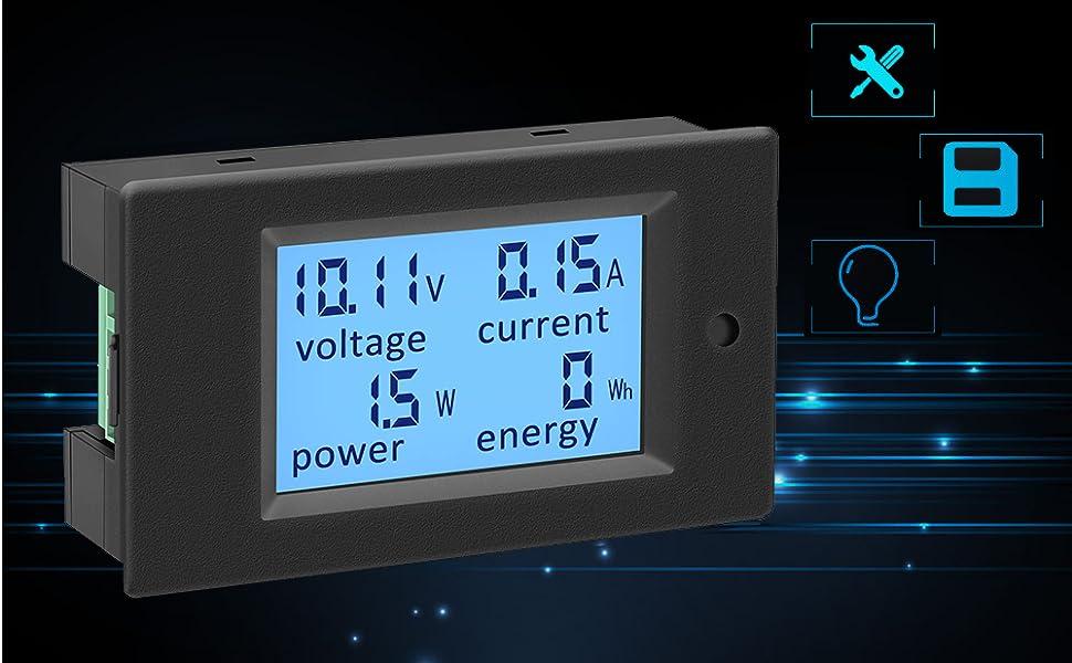 Ketotek Voltmeter Amperemeter 12v Dc 6 5 100v 100a Digitaler Stromzähler Spannungsmesser Stromprüfer Energiemessgerät Leistungsmesser Spannung Strom Anzeige Volt Ampere Panel Lcd Baumarkt