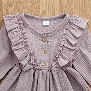 Baby and Toddler Girl Fall Cotton Linen Princess Overall Dresses