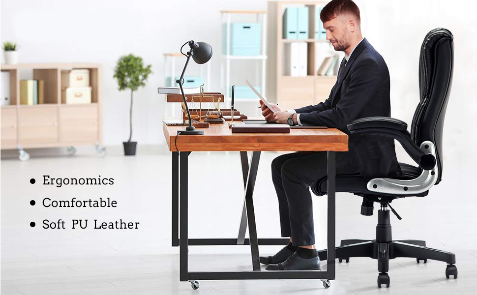 Astonishing B2C2B Leather Executive Office Chair High Back Computer Desk Chair With Adjustable Angle Recline And Seat Height Thick Padding For Comfort And Ncnpc Chair Design For Home Ncnpcorg