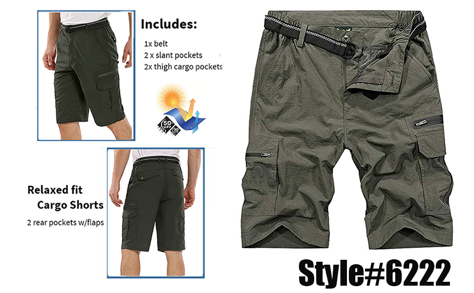 Men's Outdoor Water-Resistant Lightweight Quick Dry Hiking Cargo Shorts with Multi Pockets