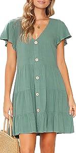 summer v neck button down dress
