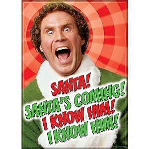 ELF BUDDY THE ELF SANTA/'S COMING I KNOW HIM METAL CHRISTMAS ORNAMENT NEW A23748