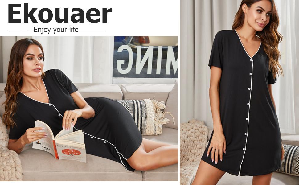 Ekouaer Sleepwear Womens's Night Shirt Short Sleeve Casual Sleepshirt Button Down Nightgown S-XXL
