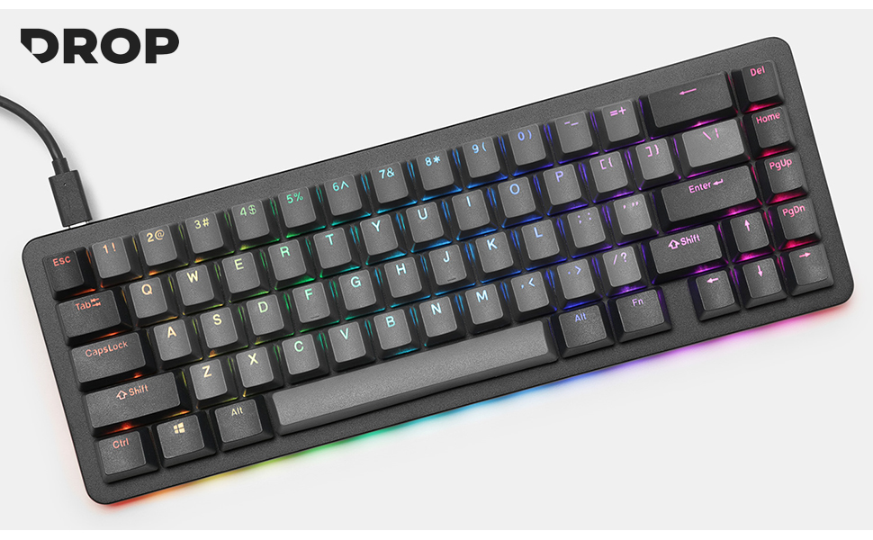 Drop ALT Massdrop PBT Keycaps doubleshot 65% compact Mechanical Keyboard Wired USB-C Cherry MX Brown