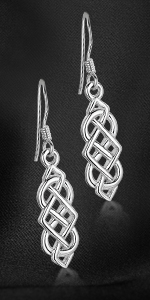 Amberta 925 Sterling Silver - Celtic Knot Earrings for Women