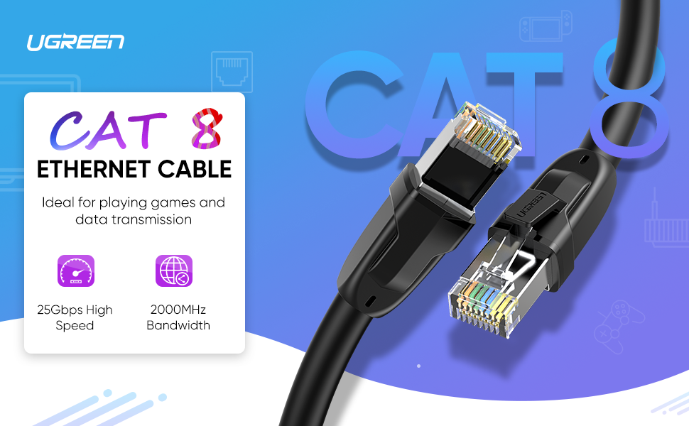 UGREEN Ethernet Cable Cat8 24AWG RJ45 Network Patch Cable 2000Mhz