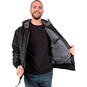 Freeze Defense Men's Quilted fleece lined work jacket is warm for winter, spring, and fall weather