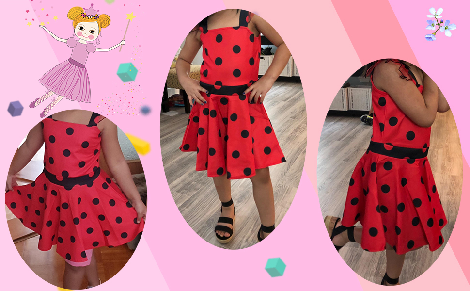 AmzBarley Girls Halloween Party Dress up Costumes Birhtday Cosplay Outfit Clothes Polka Dot Sleeveless Dress