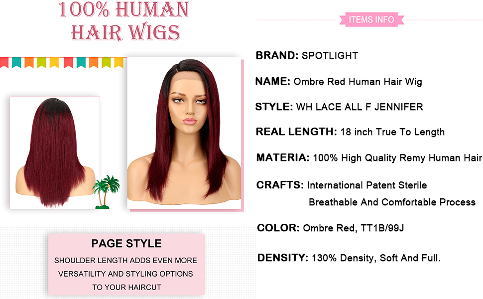 Ombre Red Human Hair Wig